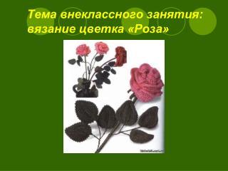 Тема внеклассного занятия:      вязание цветка «Роза»