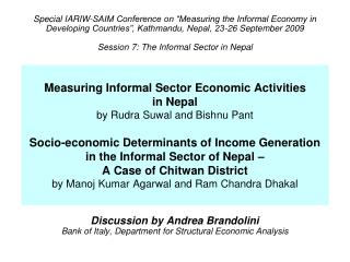 Discussion by Andrea Brandolini Bank of Italy, Department for Structural Economic Analysis
