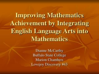 Improving Mathematics Achievement by Integrating English Language Arts into Mathematics