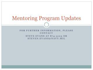 Mentoring Program Updates