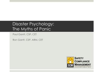 Disaster Psychology:  The Myths of Panic