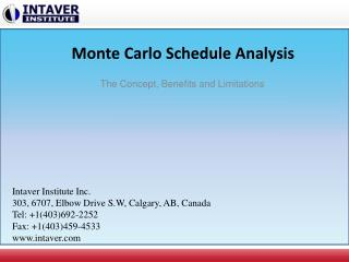 Monte Carlo Schedule Analysis