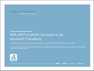 MTA, MCP en MCSA curriculum in de  Microsoft  IT Academy