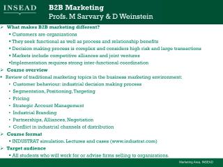 B2B Marketing Profs. M Sarvary & D Weinstein
