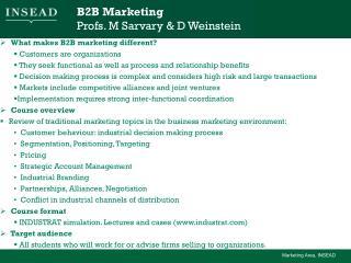B2B Marketing Profs. M Sarvary & D Weinstein