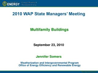 2010 WAP State Managers  Meeting    Multifamily Buildings