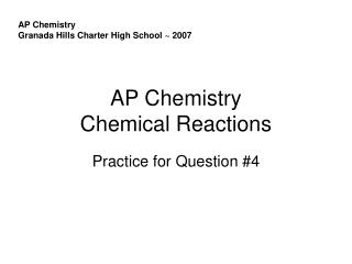 AP Chemistry Chemical Reactions