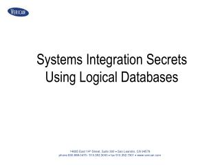 Systems Integration Secrets Using Logical Databases
