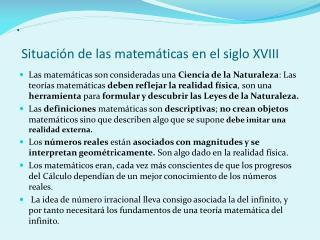 . Situación de las matemáticas en el siglo XVIII