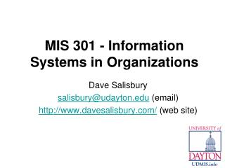 MIS 301 - Information Systems in Organizations