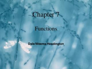 Chapter 7 Functions