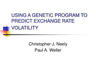 USING A GENETIC PROGRAM TO PREDICT EXCHANGE RATE VOLATILITY