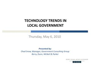 Technology Trends in                          local government