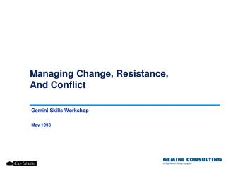 Managing Change, Resistance, And Conflict