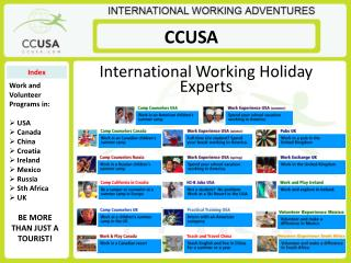 International Working Holiday Experts