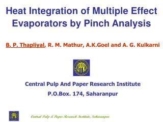Heat Integration of Multiple Effect Evaporators by Pinch Analysis