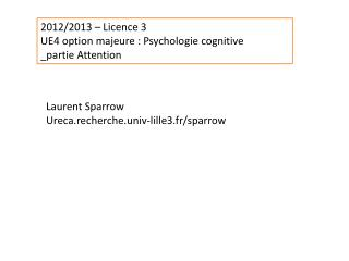2012/2013 – Licence 3 UE4 option majeure : Psychologie cognitive _partie Attention