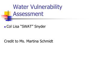 Water Vulnerability Assessment