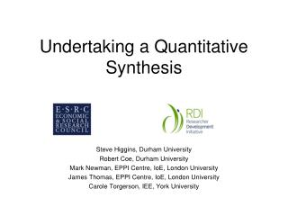 Undertaking a Quantitative Synthesis