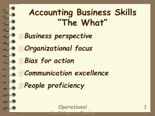 "Accounting Business Skills ""The What"""