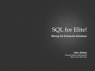 SQL for Elite