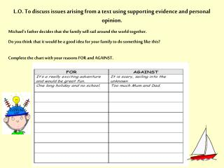 L.O. To discuss issues arising from a text using supporting evidence and personal opinion.