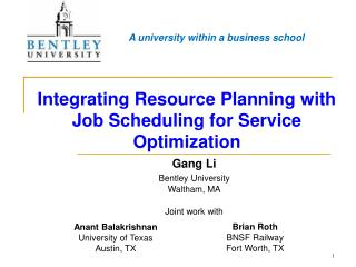 Integrating Resource Planning with Job Scheduling for Service Optimization