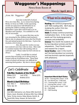 Waggoner's Happenings News from Room 18