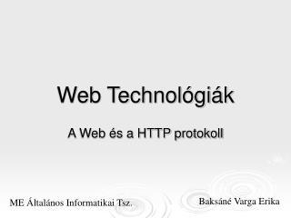 Web Technológiák