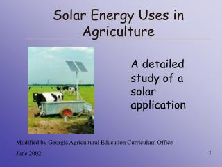 Solar Energy Uses in Agriculture