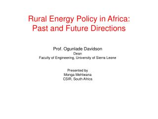 Rural Energy Policy in Africa: Past and Future Directions