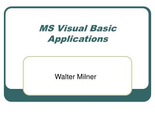 MS Visual Basic Applications