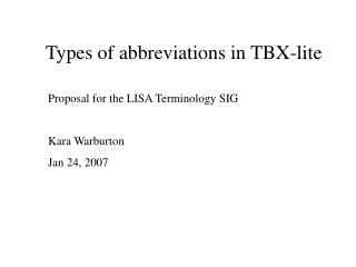 Types of abbreviations in TBX-lite