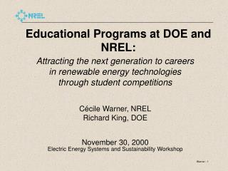 Educational Programs at DOE and NREL: