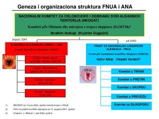 Geneza i organizaciona struktura FNUA i ANA