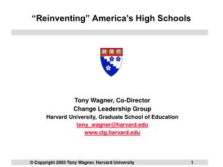 """Reinventing"" America's High Schools"
