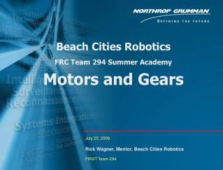 Beach Cities Robotics FRC Team 294 Summer Academy Motors and Gears
