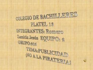 COLEGIO DE BACHILLERES  PLATEL 13