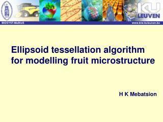 Ellipsoid tessellation algorithm for modelling fruit microstructure