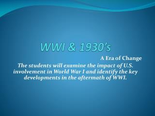 WWI & 1930's