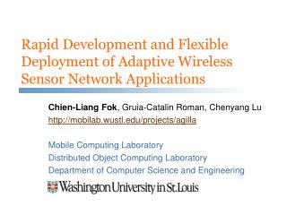 Rapid Development and Flexible Deployment of Adaptive Wireless Sensor Network Applications