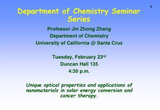 Department of Chemistry Seminar Series