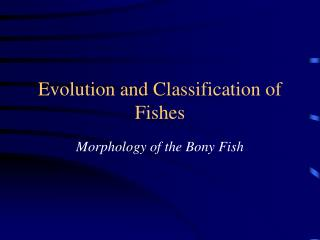 Evolution and Classification of Fishes