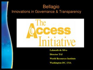 Bellagio  Innovations in Governance & Transparency