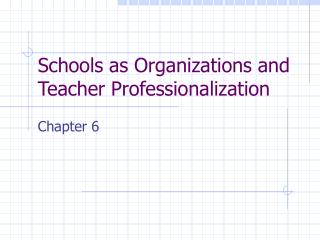Schools as Organizations and Teacher Professionalization