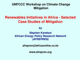 UNFCCC Workshop on Climate Change Mitigation
