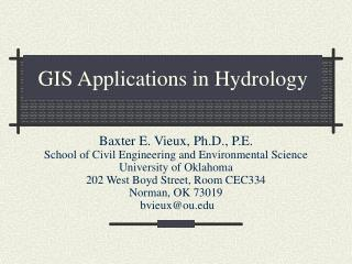 GIS Applications in Hydrology