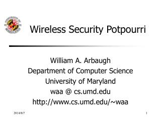 Wireless Security Potpourri