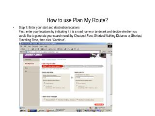 How to use Plan My Route?
