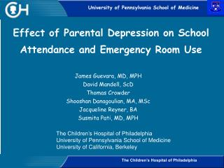 Effect of Parental Depression on School Attendance and Emergency Room Use